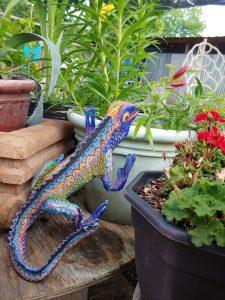 Colorful lizard sculpture