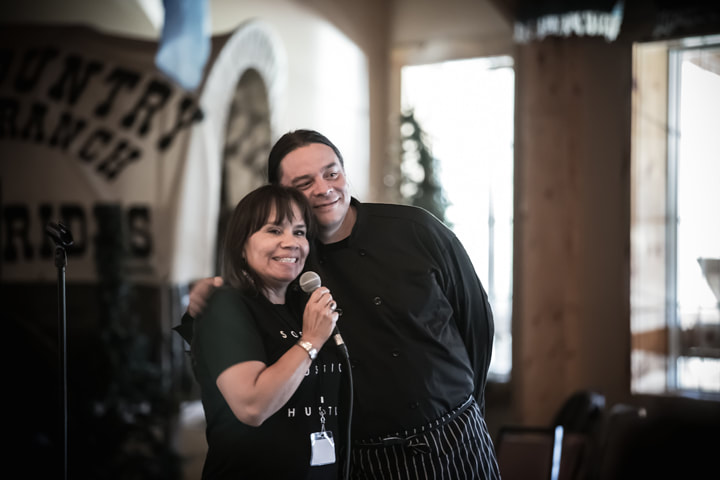 """First Peoples Fund President Lori Pourier introduces her relative, Sean Sherman (Oglala) """"The Sioux Chef"""""""